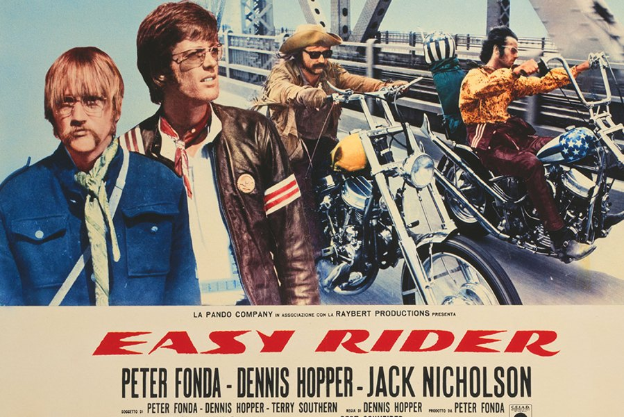 A poster for Dennis Hopper's 1969 road movie 'Easy Rider', starring Hopper (left and centre) and Peter Fonda. (Photo by Movie Poster Image Art/Getty Images)