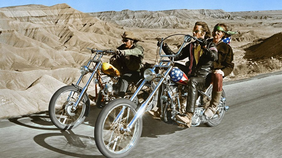 American actor Peter Fonda with actor, director and screenwriter Dennis Hopper on the set of his movie Easy Rider. (Photo by Sunset Boulevard/Corbis via Getty Images)