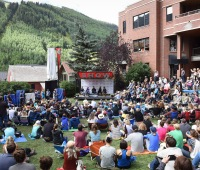 Aaron Sorkin, Danny Boyle, Seth Rogen, Kate Winslet and Todd McCarthy speak during a seminar at the 2015 Telluride Film Festival on September 6, 2015 in Telluride, Colorado.
