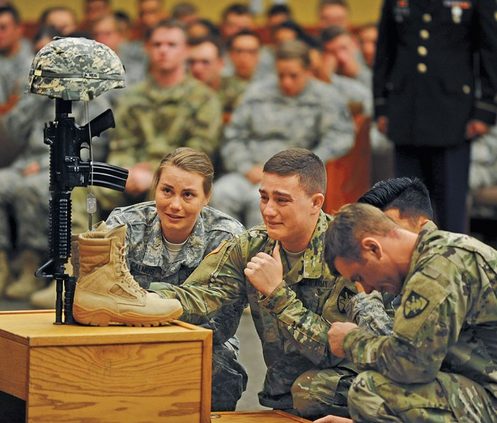 Mourners at the memorial ceremony for 21-year-old West Point cadet Mitchell Winey, who had arrived at Fort Hood only 10 days before the accident.