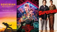 'Stranger Things 3', 'Bohemian Rhapsody', 'Superbad' posters