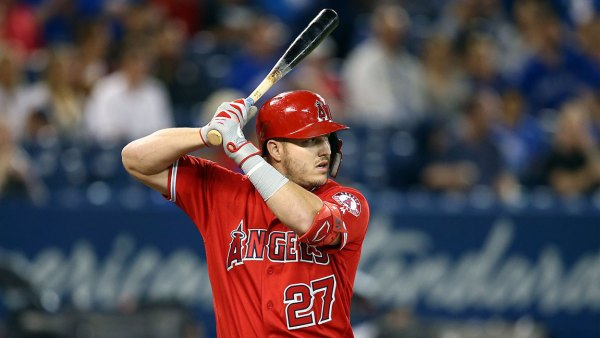 TORONTO, ON - JUNE 20: Mike Trout #27 of the Los Angeles Angels of Anaheim bats in the first inning during a MLB game against the Toronto Blue Jays at Rogers Centre on June 20, 2019 in Toronto, Canada. (Photo by Vaughn Ridley/Getty Images)