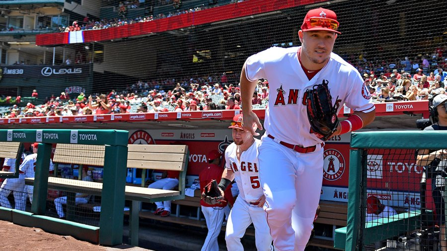 ANAHEIM, CA - JUNE 30: Mike Trout #27 of the Los Angeles Angels takes the field for the game against the Oakland Athletics at Angel Stadium of Anaheim on June 30, 2019 in Anaheim, California. (Photo by Jayne Kamin-Oncea/Getty Images)