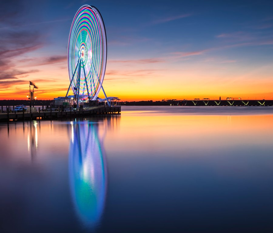 The lighted Ferris wheel on the Potomac at Oxon Hill, MD