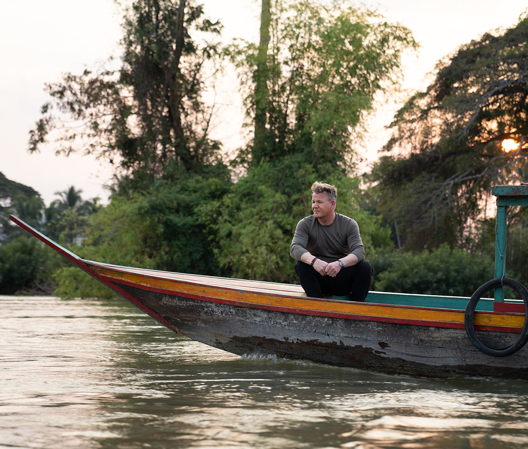 "Ramsay moving down a river in his new Nat Geo show, ""Uncharted"""