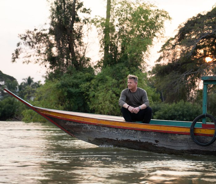 """Ramsay moving down a river in his new Nat Geo show, """"Uncharted"""""""