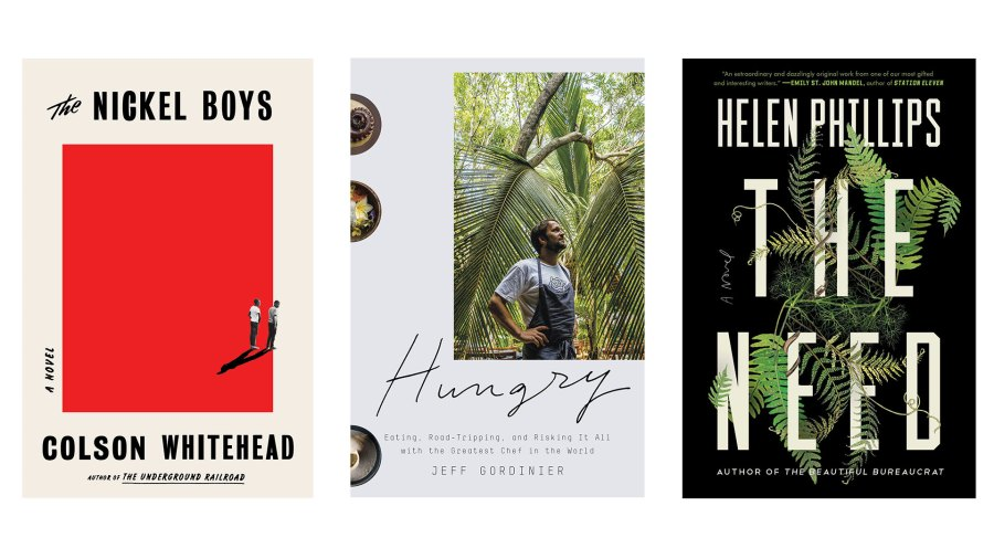 """From left to right, Colson Whitehead's """"The Nickel Boys,"""" Christopher Ketcham's """"This Land,"""" and Helen Phillips' """"The Need"""""""