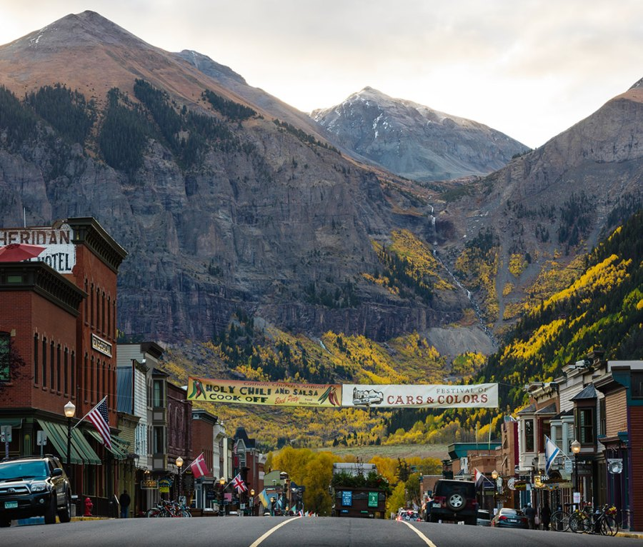Telluride, CO, with mountains looming in the distance