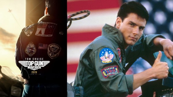 L: Poster for Top Gun: Maverick trailer, R: American actor Tom Cruise on the set of Top Gun, directed by Tony Scott.