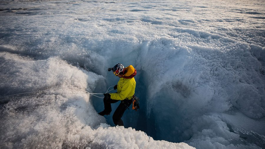 Will Gadd exploring the Greenland Ice Sheet