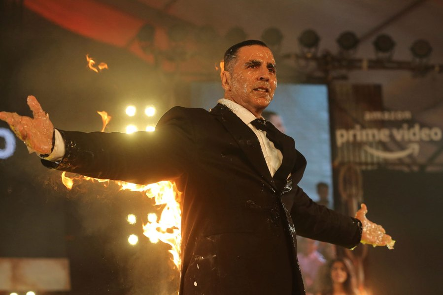 Forbes List highest-paid actors of 2019 - Amazon Prime, Mumbai, India - 05 Mar 2019 Bollywood actor Akshay Kumar performs a stunt during an event to mark his digital debut with an Amazon Prime Video series in Mumbai, India