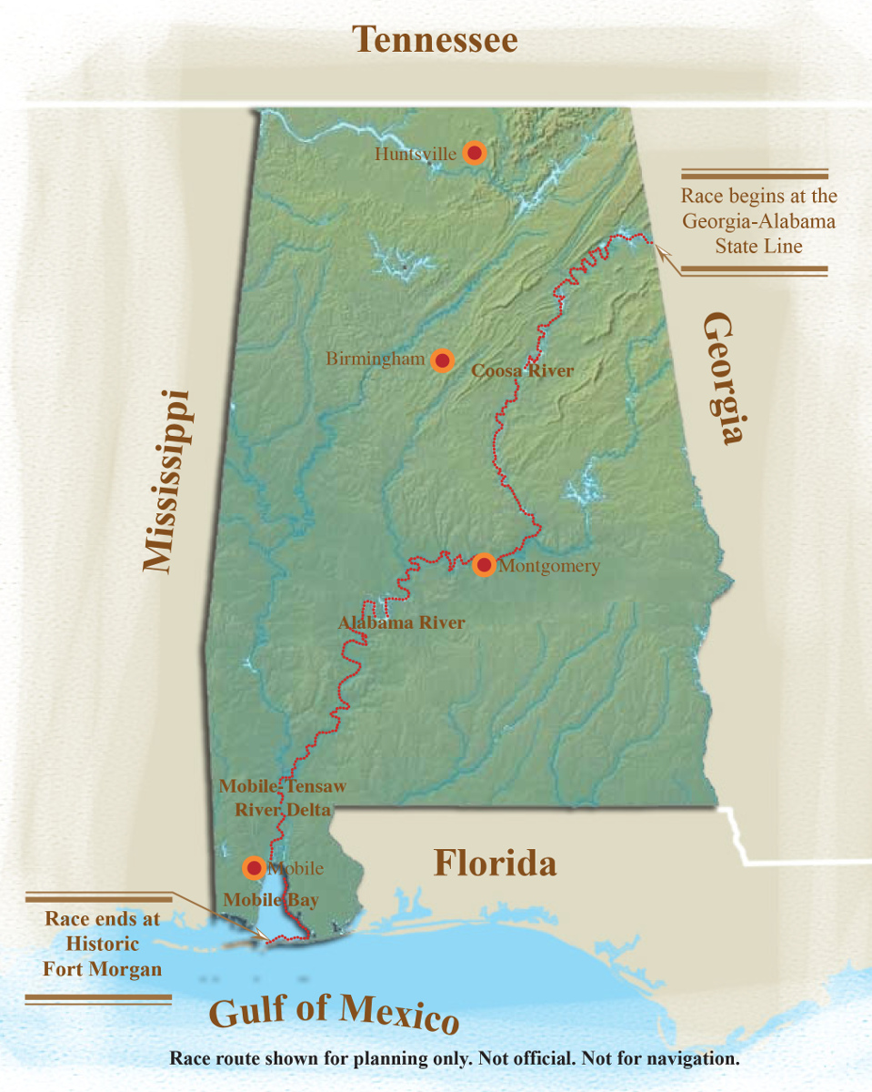 Map of the Great Alabama 650. Image Jim Felder, courtesy of the Alabama Scenic River Trail