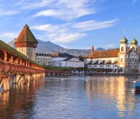 The Chapel Bridge and the Jesuit Church in Lucerne, Switzerland