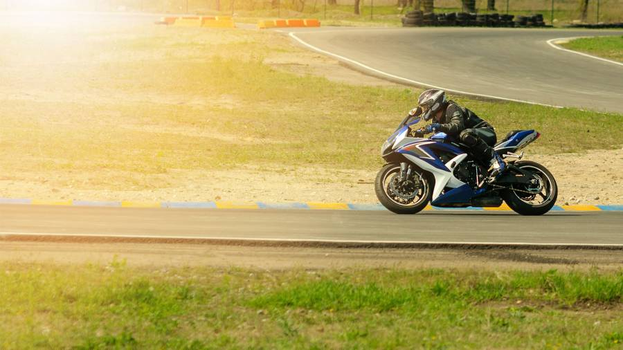 Motorcyclist on track