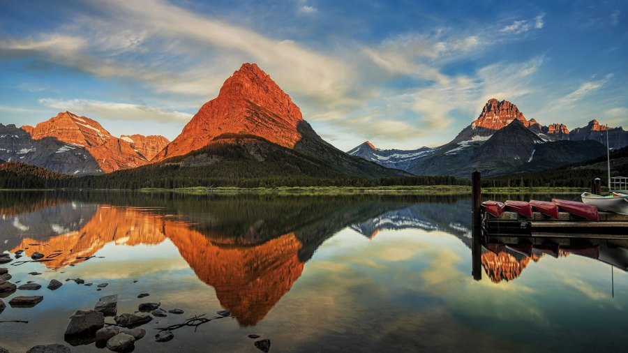 Morning at Swiftcurrent Lake in the Many Glacier area of Montana's Glacier National Park