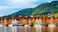 View of historical buildings in Bryggen- Hanseatic wharf in Bergen, Norway. UNESCO World Heritage Site