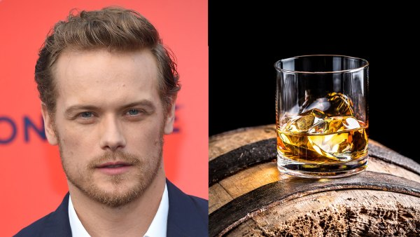 Sam Heughan arrives to 'The Spy Who Dumped Me' Los Angeles Premiere; Glass of whisky with ice on old wooden barrel