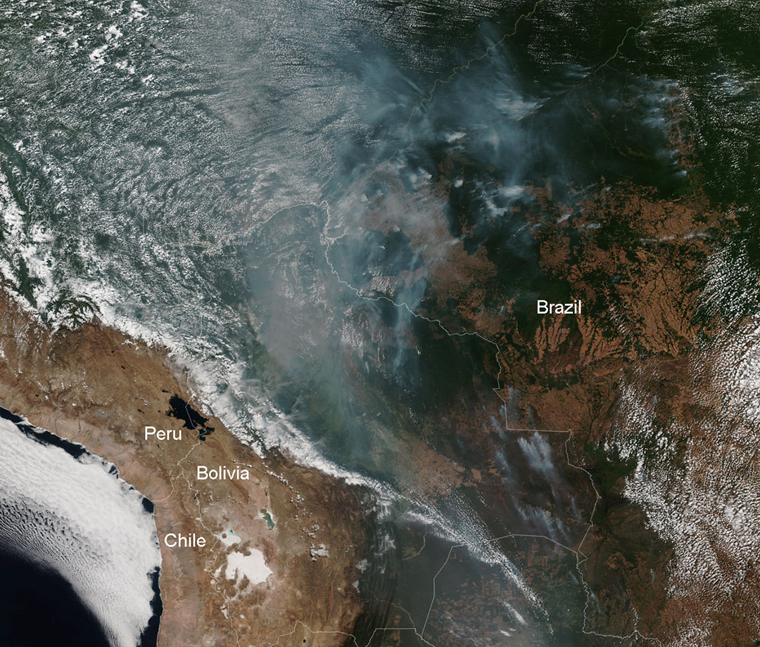The smoke from wildfires in the Amazon as seen from the NOAA-20 satellite