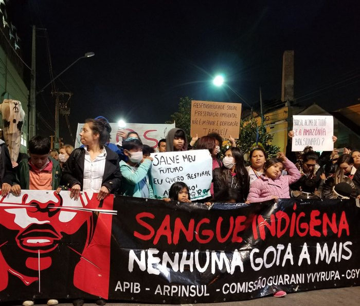 Protesters in Curitiba, Brazil, decry the Amazon fires and their impact on indigenous peoples