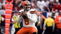 Cleveland Browns quarterback Baker Mayfield (6) throws against the Houston Texans during the first half of an NFL football game, in Houston
