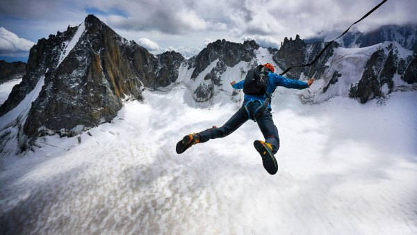Tim Howell BASE-jumping from the French Alps