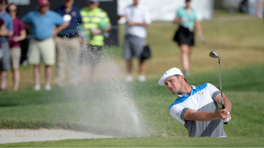 Bay Hill Golf, Orlando, USA - Bryson DeChambeau hits out of a bunker onto the ninth green during the final round of the Arnold Palmer Invitational golf tournament, in Orlando, Fla