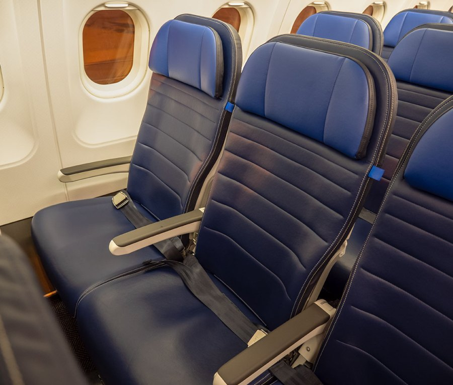 Economy seating on an airplane