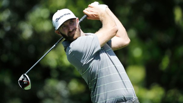 Dustin Johnson hits with his TaylorMade M5 driver at the 2019 Masters Tournament in Augusta, GA