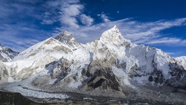 The mountain massifs around Mt. Everest (8848m) and Nuptse (7861m) as seen from Kala Pathar (5545m), Gorakshep, Solo Khumbu, Nepal
