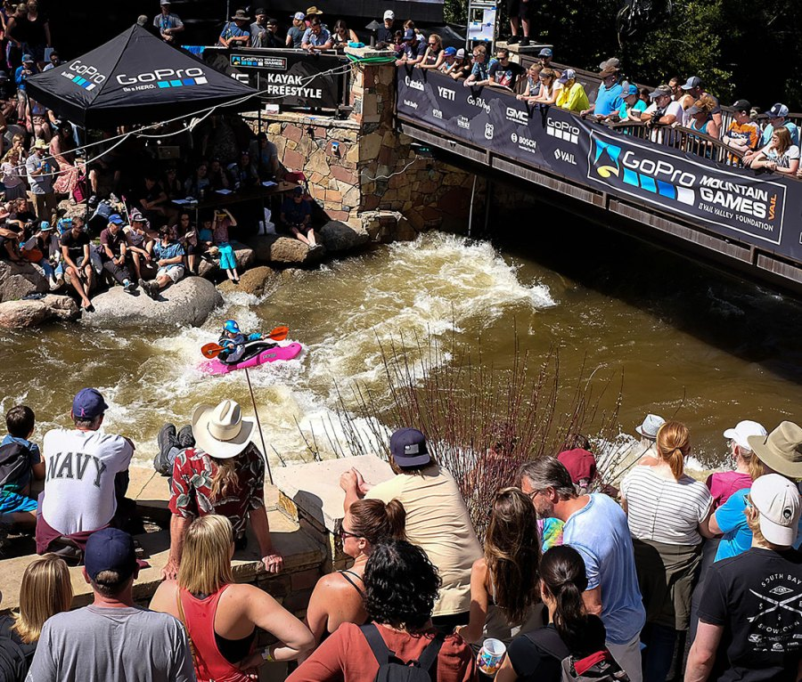 The Women's Qualifying round of the Freestyle Kayak competition at the 2019 GoPro Mountain Games in Vail, CO