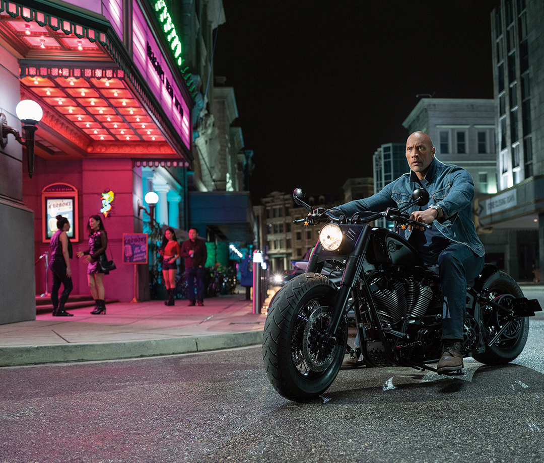 "Luke Hobbs (Dwayne Johnson) on a custom Harley Davidson in ""Hobbs & Shaw"""