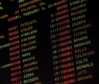 2018 NFL football betting odds displayed in the Race and Sports Book at Dover Downs Hotel and Casino in Dover, DE