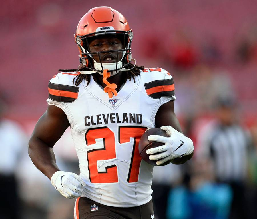 Cleveland Browns running back Kareem Hunt at a preseason game in Tampa, FL in 2019