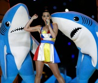 Katy Perry and her shark-suited backup dancers performing in Glendale, AZ, at Super Bowl XLIX in 2015