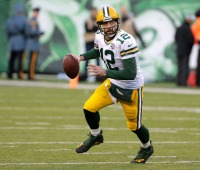 Green Bay Packers quarterback Aaron Rodgers in 2018 in East Rutherford, NJ