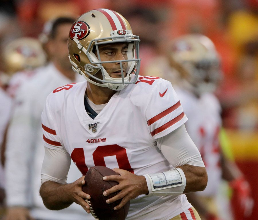 San Francisco 49ers quarterback Jimmy Garoppolo before a game in Kansas City, MO, in 2019