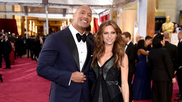Dwayne Johnson, left, and Lauren Hashian arrive at the Oscars, at the Dolby Theatre in Los Angeles