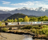 Coastal Pacific Train in New Zealand along the Kahutara River