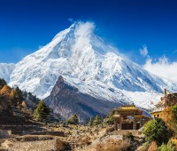 Mt. Manaslu in the Himalayas in Nepal