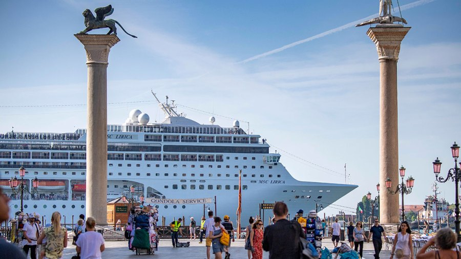 Cruise ships, Venice, Italy - 20 Jun 2019 Cruise ships docked in Venice