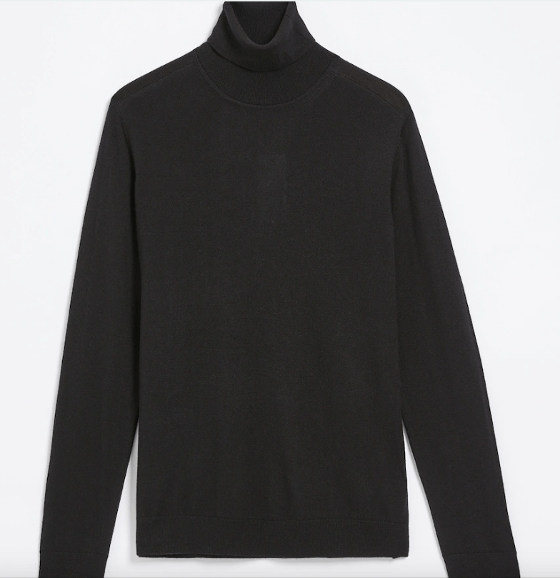 Machine Washable Merino Turtleneck in True Black