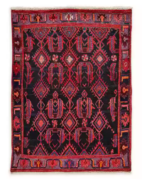 Feizy Rugs One of a Kind Antique Hamedan 3'9 x 5'2 Area Rug in Red/Lavender