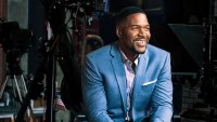Michael Strahan on set of TV show