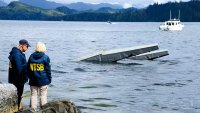The wreckage of a floatplane in George Inlet, after a midair collision in May killed six and injured nine.