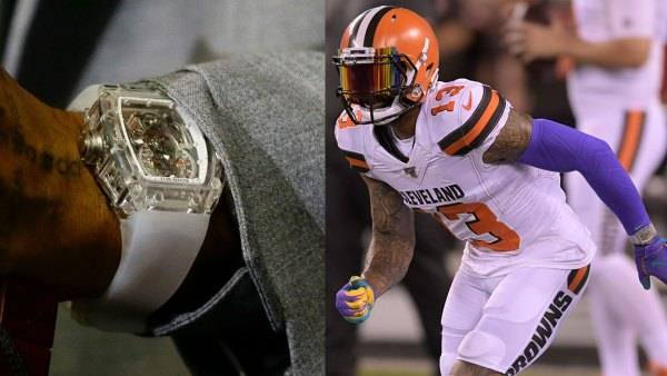 Odell Beckham's Watch / Richard Mille, Browns Jets Football, East Rutherford, USA - 17 Sep 2019 Cleveland Browns' Odell Beckham speaks after an NFL football game against the New York Jets, in East Rutherford, N.J. The Browns won 23-3, Browns Jets Football, East Rutherford, USA - 16 Sep 2019 Cleveland Browns wide receiver Odell Beckham (13) warms up before an NFL football game against the New York Jets, in East Rutherford, N.J