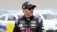 NASCAR Michigan Auto Racing, Brooklyn, USA - 08 Jun 2019 Jimmie Johnson walks in the pit area before qualifying for the NASCAR cup series race at Michigan International Speedway, in Brooklyn, Mich