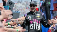 NASCAR Auto Racing, Martinsville, USA - 24 Mar 2019 NASCAR Cup Series driver Jimmie Johnson (48) greets fans during driver introductions prior to the NASCAR Cup Series auto race at the Martinsville Speedway in Martinsville, Va 24 Mar 2019