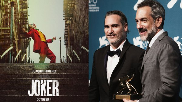 Closing ceremony, 76th Venice Film Festival, Italy - 07 Sep 2019 Todd Phillips (R) holds the Golden Lion award for the movie 'Joker' next to Joaquin Phoenix (L), Joker poster