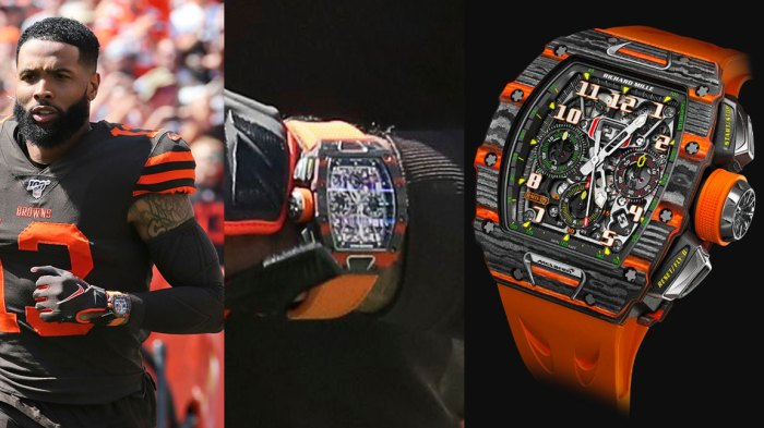 Browns Beckham Watch Football, Cleveland, USA - 08 Sep 2019 Cleveland Browns wide receiver Odell Beckham Jr. runs a route during the first half in an NFL football game against the Tennessee Titans, in Cleveland. The flashy, fashionable wide receiver sported an expensive watch, worth over $250,000, during his debut Sunday. The NFL plans to speak with Browns star Odell Beckham Jr. about wearing a watch in games, RM 11-03 Automatic Winding Flyback Chronograph McLaren