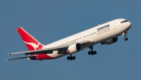 Qantas Boeing 767-338/ER VH-OGN turning on approach to land at Melbourne International Airport